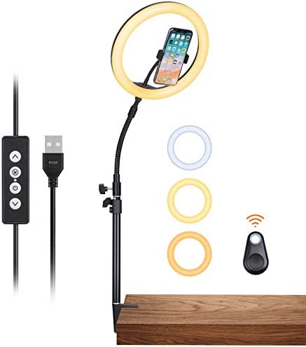 "Inkeltech Ring Light - 10"" Selfie Ring Light with Desktop Stand & Phone Holder, 10W Dimmable LED Light Ring with 3 Light Modes & 11 Brightness Levels, Portable Lighting Kit for Makeup, YouTube, TikTok"