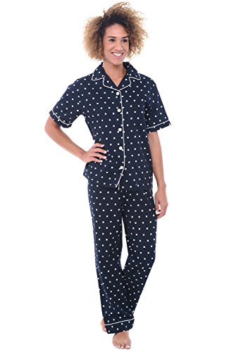 Alexander Del Rossa Womens Cotton Pajamas, Woven Pj Set with Pants, Large Black and White Polka Dot (A0518V16LG) (Pajamas Black Short Sleeve)