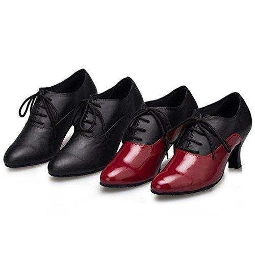 Monie Ballsaal Moderne Schwarz Ferse Frauen Salsa Aufflackern Tanzschuhe Tango Schnürer rwaARrqIgx