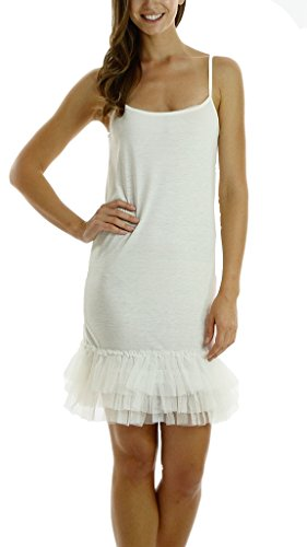 Melody [Shop Lev] Women's Cotton Full Slip Dress With Three Tiered Mesh Bottom