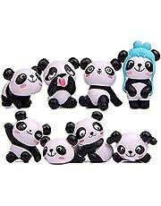 Panda Cake Topper,8 STKS Panda Figuren Leuke Miniatuur Panda Mini Dier Beeldjes Geschenken voor Meisjes Miniatuur Tuin Ornament Tuinieren Pop Cake Decoratie voor Kid Party