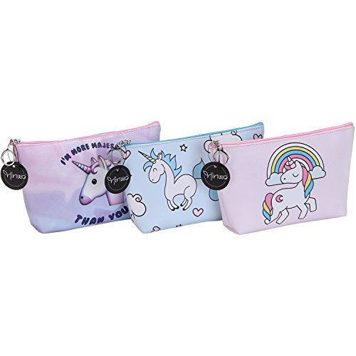 Hinwo Unicorn Cosmetic Bags Premium PU Leather Travel Makeup Bag Toiletry Kit Organizer Funny Unicorns Printing Clutch Pouch Pencil Case Holder with Zippered Closure for Women and Girls, Set of 3