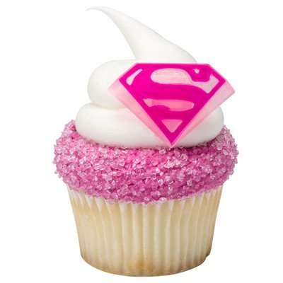 Supergirl Shield Cupcake Rings - 24 ct -