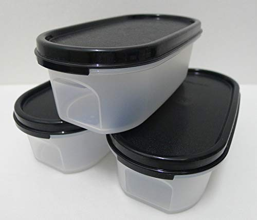 - Tupperware Set of 3 Modular Mates Oval 1 Containers with Black Seals