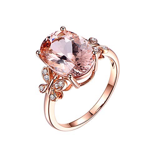 winsopee Fashion Ring for Women Natural Morgan Stone Plated 18K Rose Gold and Diamond Ring Wedding Promise Engagement Ring (Rose Gold,9)