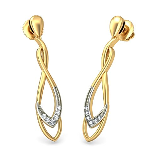 Or jaune 18K 0,07ct tw White-diamond (IJ | SI) Pendants d'oreilles