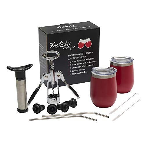 12 oz Stainless Steel Stemless Wine Tumbler with Lid, Double Wall Vacuum Insulated Set of 2 with 2 Curved Straws, 2 Cleaning Brushes, 1 Wine Saver with 4 Stoppers, and ()