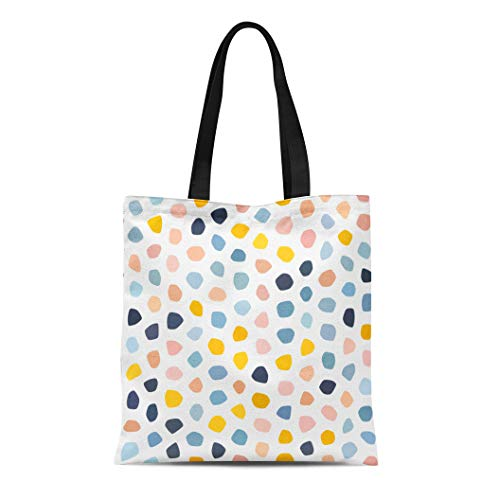 Semtomn Canvas Tote Bag Pastel Pink Navy Blue Salmon Beige Yellow Polka Dot Durable Reusable Shopping Shoulder Grocery Bag