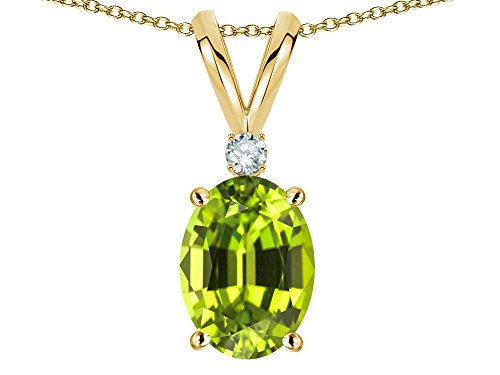 (Star K Oval 7x5mm Genuine Peridot Pendant Necklace 14 kt Yellow Gold)