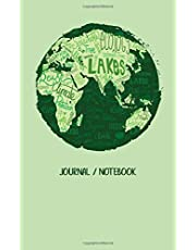 """Journal / Notebook: World Globe Environmental Protection Blank Journal Unlined, 100 Pages, 5"""" by 8"""" Notebook, Planner, Sketch Book, Memo Book, Diary, Empty Journal to Write Quotes or Ideas"""