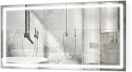 Krugg Large 66 Inch X 36 Inch LED Bathroom Mirror | Lighted Vanity Mirror Includes Dimmer Defogger | Wall Mount Vertical or Horizontal Installation |