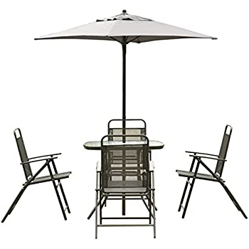 Giantex Patio Garden Set Furniture with Folding Chairs Table with Umbrella Gray