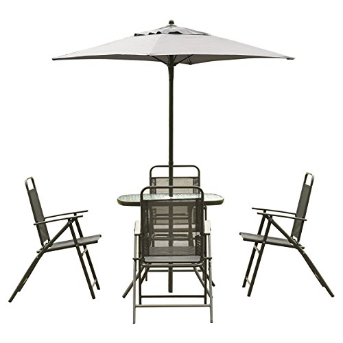 (Giantex Patio Garden Set Furniture with Folding Chairs Table with Umbrella Gray)