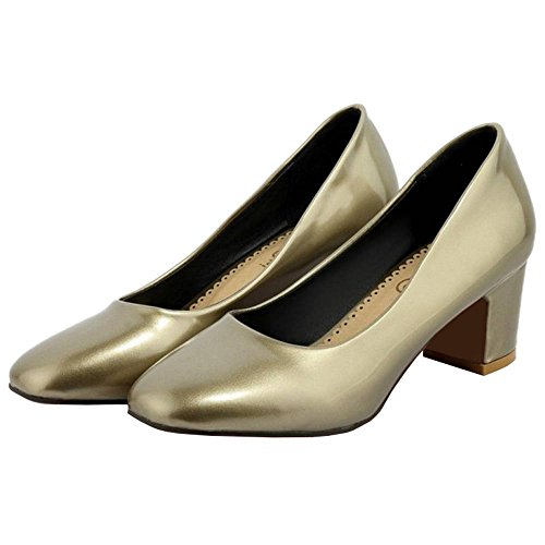 Shoes Gold for Casual Women Chunky Fahsion with Medium Casual SJJH Heel Shoes Agaqn0