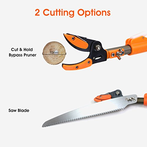 Finether Telescopic Pole Saw Long Reach Pole Pruner Lightweight Tree Trimmer with Bypass Pruner, Saw Blade, Guide Rod |Work Gloves for Free | Extends from 5.91 to 13.12 ft by Finether (Image #5)