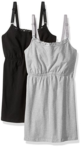 Loving Moments by Leading Lady Women's Cotton Nursing Tank With Lace Trim and Full Sling, Black/Gray, 2 Pack, (Plus Size Sling)