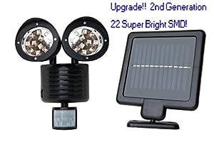 [2nd Generation] Solar Powered Motion Sensor Light 22 SMD Garage Outdoor Security Flood Spot Light - Black