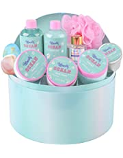 Bff Beauty Spa Gift Baskets for Women, 10pcs Ocean Bath Set Spa kit with Shower Gel, Handcream, Body Lotion, Holiday Gift, Birthday Gift for Women with Premium Jewelry Box