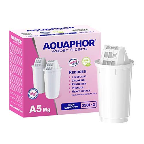 Aquaphor A5 Mg Pack 2 met magnesium waterfilterpatroon, wit, 350 l