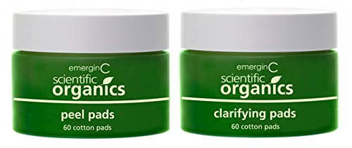 (emerginC Scientific Organics At-Home Facial Peel + Clarifying Kit - Exfoliating Pads to Help the Appearance of Fine Lines, Uneven Texture + Tone (60 Treatments))