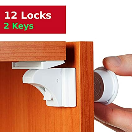 12 Pack Childproof Safety Drawer Cabinet Door Catches Durable Child Safety Locks