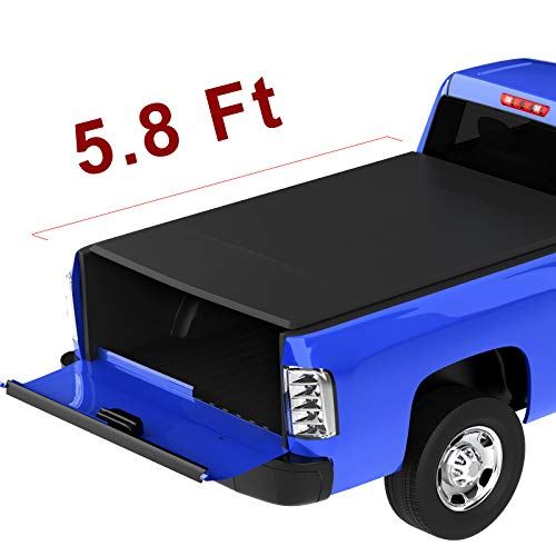 oEdRo Roll Up Truck Bed Tonneau Cover Compatible with 2014-2019 Chevy Silverado/GMC Sierra 1500 (2019 Only Fits Classic or Legendary); 2015-2018 Silverado Sierra 2500 3500| Fleetside 5.8 Feet Bed
