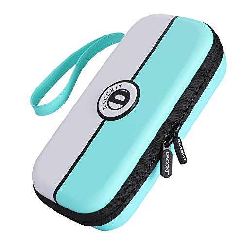 D DACCKIT Travel Carrying Case for Nintendo Switch Lite and Accessories - Turquoise and White