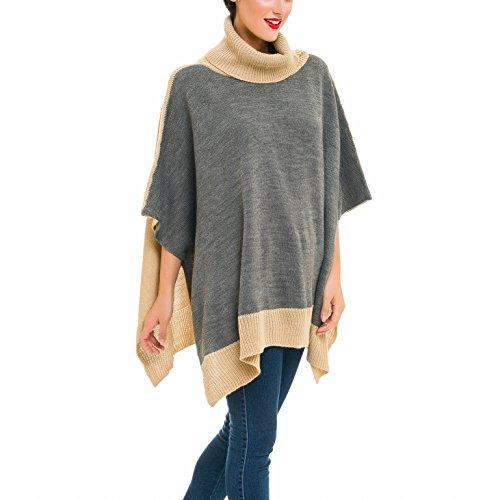 Gray Wool Turtleneck - Cardigan Poncho Turtleneck Sweater: Women Gray Shawl Wrap Cape Coat for Winter (Gray Beige)