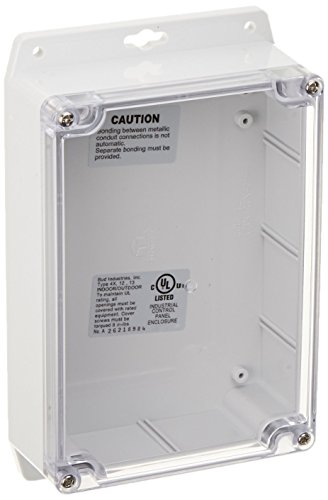 BUD Industries PN-1324-CMB Polycarbonate NEMA 4X Box with Mounting Bracket and Clear Cover, 6-23/32