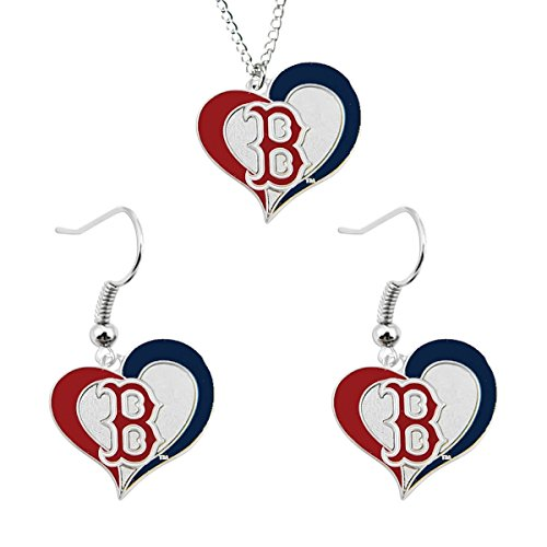Dangle Sox Earrings (MLB Boston Red Sox Swirl Heart Necklace and Dangle Earring Set Charm Gift)