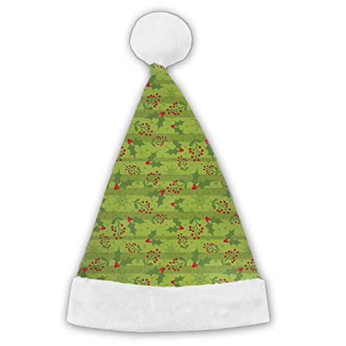 Merry Christmas Holiday Holly Berries Merry Xmas Christmas Hat Velvet Santa Claus Hat,S Size For Kid,M Size For Adult (Wrap Holiday Decor Holly)