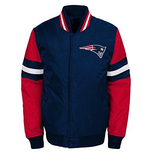 Outerstuff NFL New England Patriots Youth Boys Legendary Color Blocked Varsity Jacket Dark Navy, Youth Large(14-16)