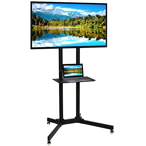 Best Choice Products SKY2961 Home Entertainment Flat Panel Steel Mobile TV Media Stand Cart for 32-65in Screens w/Tilt Mechanism, Lockable Wheels, Front - Entertainment Mobile
