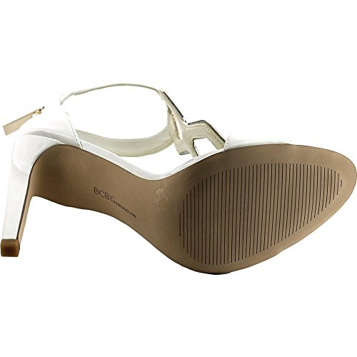 BCBGeneration Womens Cayce Open Toe Ankle Wrap Classic Pumps White UCxEh8L5
