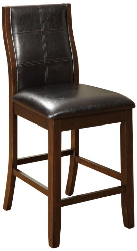 Furniture of America Cypress Leatherette Parson Counter Height Dining Chair, Black, Set of 2