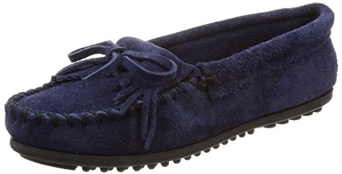 Minnetonka Women's Kilty Suede Moc Hardsole Navy Suede 8 - Minnetonkas For Men