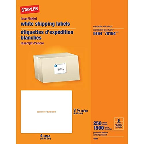 Staples White Shipping Labels 4 x 3 1/3 250 Sheets 1500 Labels ()