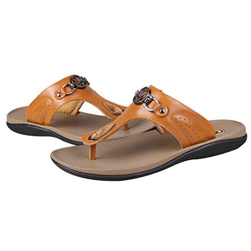 Soleil Lorence Mens Mode Cuir Chaussures De Plage Pantoufle Intérieure Et Extérieure Tongs Tongs Jaune Brun