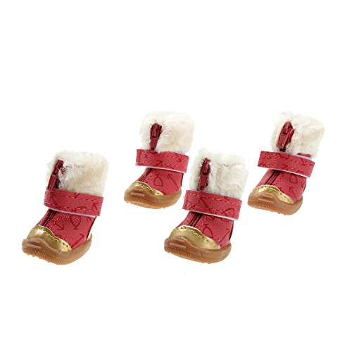 4pcs/set Candy Color Warm Pet Dog Waterproof Shoes Winter Boots Cotton Shoe - 4