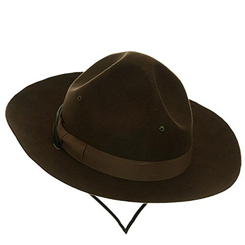 Jacobson Hat Company Men's Wool Felt Mountie, Brown, Adult Large (Hat Wool Drill)