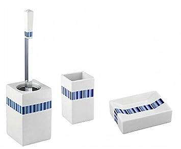 Wenko Teneriffa - Juego accesorios baño Strips Color Blanco Azul de porcelana Incluye de WC (Jabonera Vaso para cepillos de dientes: Amazon.es: Hogar
