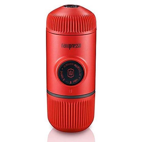 Wacaco Nanopresso Portátil Espresso Maker, Versión mejorada de Minipresso, 18 Presión de barra, Edición Red Patrol, cafetera de viaje extra pequeña, ...