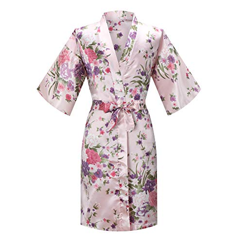 - MORFORU Girls Kids Daffodils Silky Satin Kimono Robe Sleepwear for Wedding Spa Party, Short (Pink, Tag 4 for 2'7
