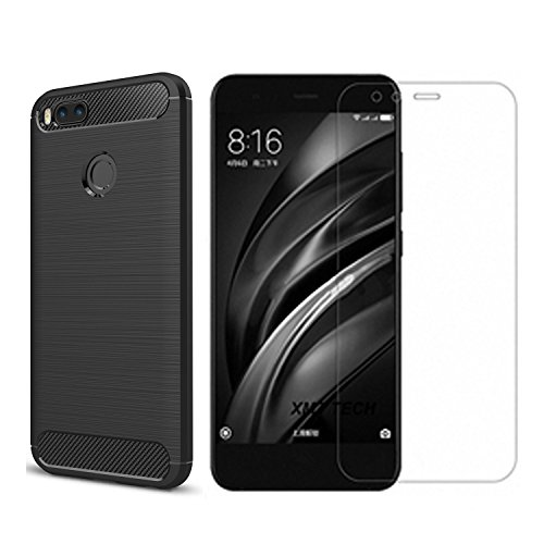 Xiaomi Mi A1 case,with Xiaomi Mi A1 screen protector. MYLB (2 in 1)[Scratch Resistant Anti-fall] fashion Soft TPU Shockproof Case with Xiaomi Mi A1 glass screen protector (Black) by MYLB (Image #7)