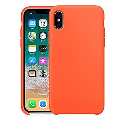 Anyos iphoneX Case,Ultra-Thin Liquid Silicone Soft Skin Cover for Apple iphoneX 10 (Orange)