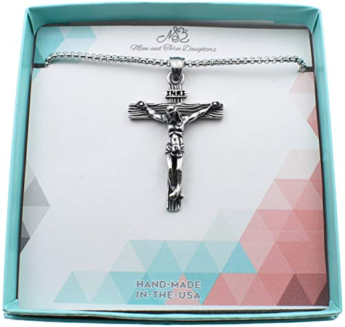 Men's Crucifix Pendant in Silver Toned Metal on a 32