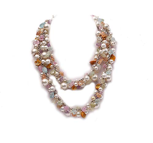 JYX Pearl Necklace 8-12mm White Seashell with Multicolor Crystal Opera Long Necklace 39