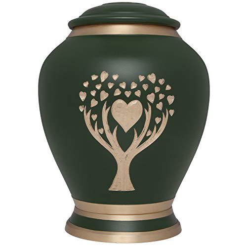 Green Cremation Urn with Tree of Life by Liliane Memorials - Urns for Human  Ashes Remains - Brass - Suitable for Funeral Cemetery Burial or Niche -