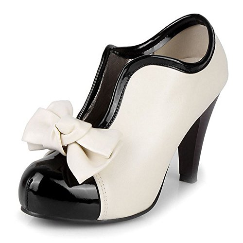 COOLCEPT Women Vintage Platform Pumps High Heels Ankle Boots Cream Party Bridal Wedding Shoes with Bow Cream bTAIRIw8Pc