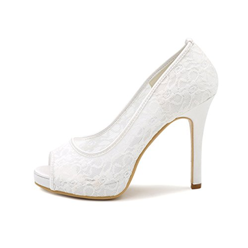 Shoes Lace Hollow Peep Bridal Pumps Orange High Ellenhouse Women's EH010 Toe Heels BpRzqaw